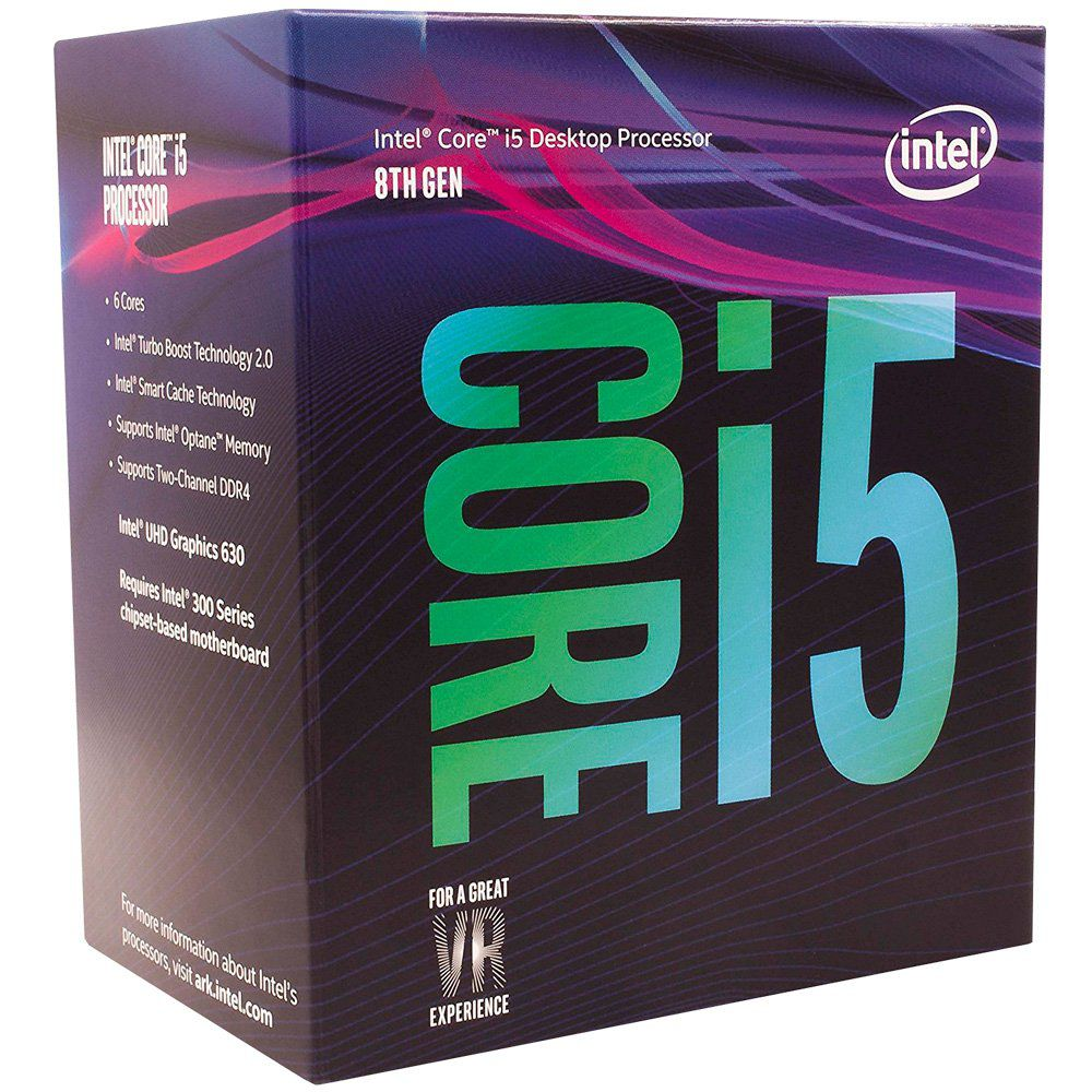 Processador CPU Intel Core i5-8400 Coffee Lake 8a Geração, Cache 9MB, 2.8Ghz (4.0GHz Max Turbo), LGA 1151 Intel UHD Graphics 630 - BX80684I58400