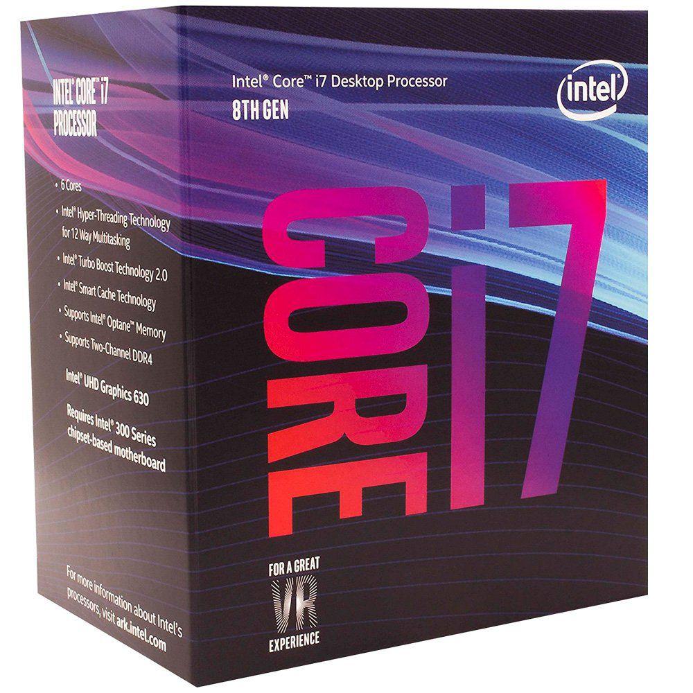 Processador CPU Intel Core i7-8700 Coffee Lake 8a Geração, Cache 12MB, 3.2GHz (4.6GHz Max Turbo), LGA 1151 Intel UHD Graphics 630 - BX80684I78700