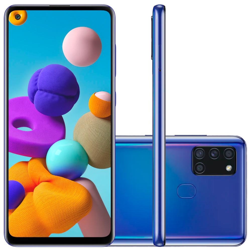 Smartphone Samsung Galaxy A21S A217M/DS 64GB, Dual Chip, Android 10.0, Octa Core 2.0GHz, Câmera Traseira Quádrupla, Bateria 5000mAh