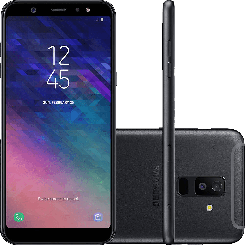 "Smartphone Samsung Galaxy A6+ Plus A605, Octa-Core 1.8GHz, 64GB Interna, 4GB RAM, Câmera 16MP F1.7 + 5MP F1.9 (Dual Cam), Android 8.0, Tela 6"" - Preto"