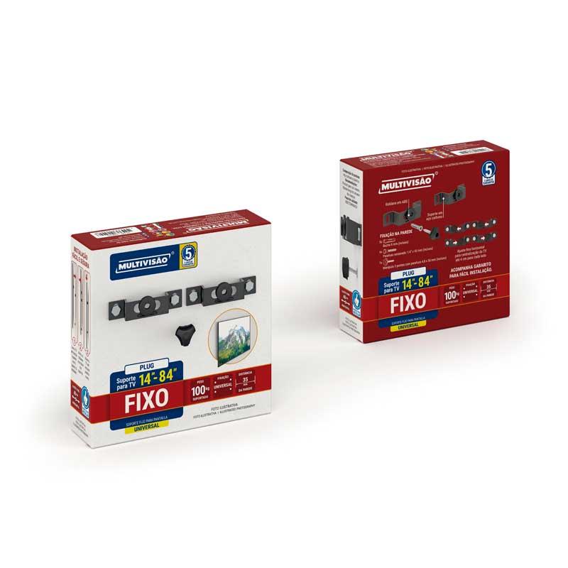 """Suporte Multivisão de Parede Fixo para TODAS TVs LCD / PLASMA / LED de 14"""" a 84"""" - PLUG-PR"""