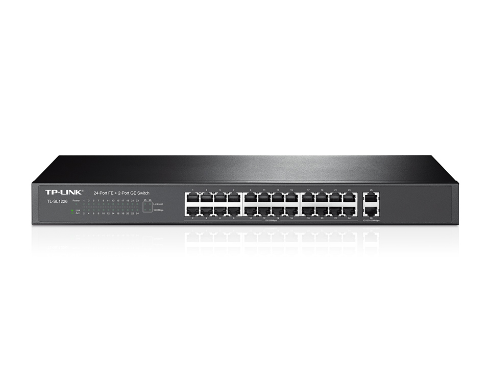Switch TP-Link Montável em Rack de 24 Portas 10/100Mbps + 2 Portas Gigabit - TL-SL1226