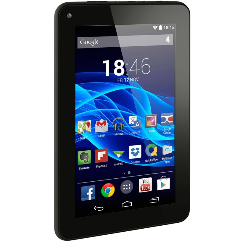 "Tablet Multilaser M7S Preto, Quad Core, Android 4.4, Dual Câmera, Tela 7"", Wi-Fi, 8GB - NB184"