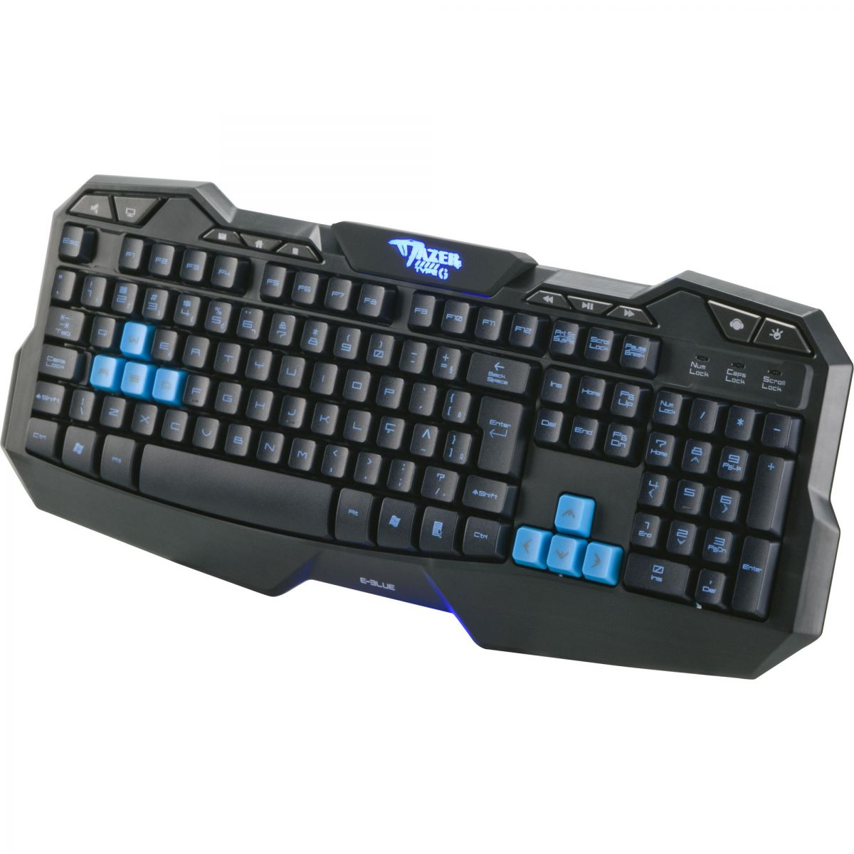 Teclado Gamer E-Blue Multimídia USB Mazer Type G Preto/Azul - 52181