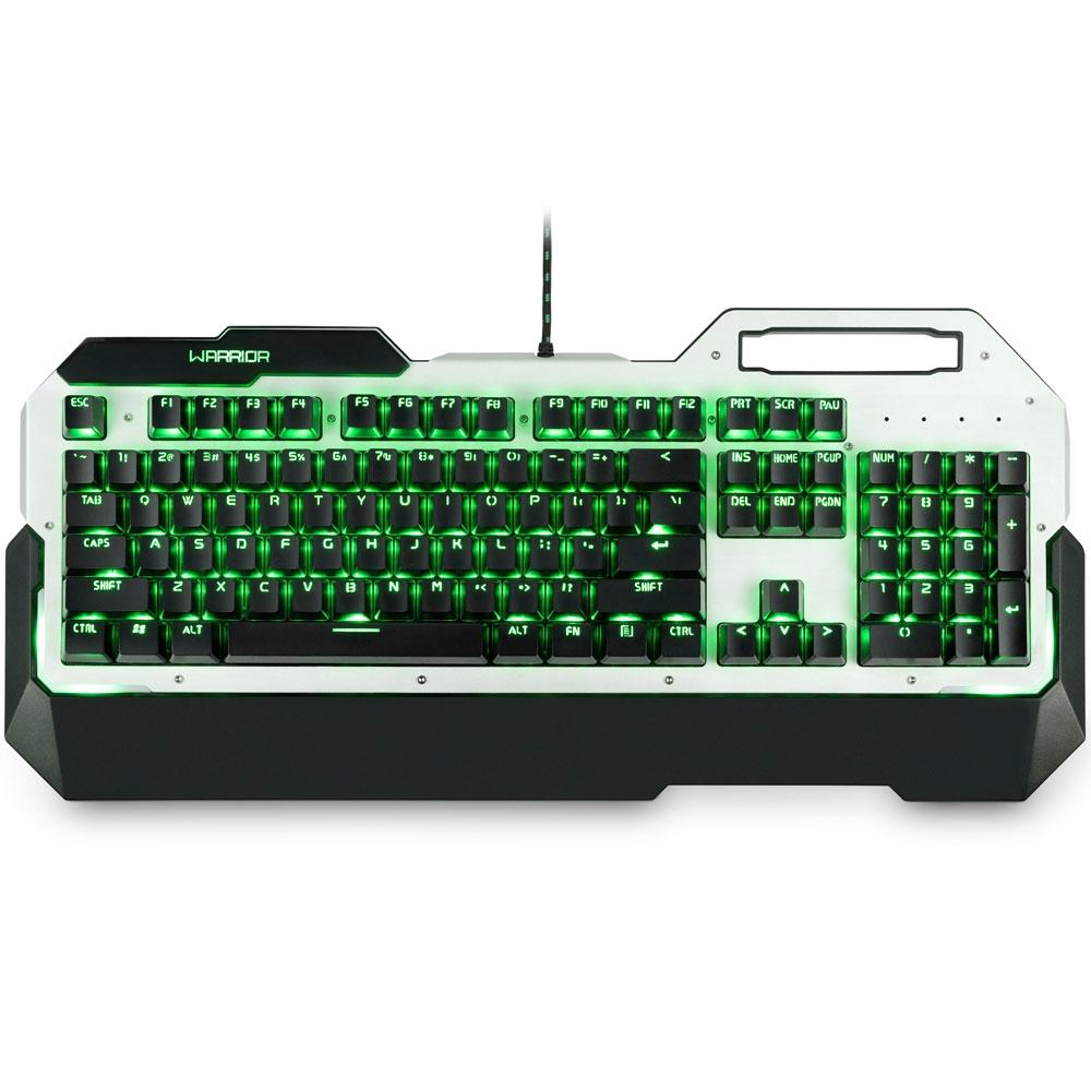 Teclado Gamer Warrior Multilaser  Mecânico LED Verde, Switch Blue- TC217