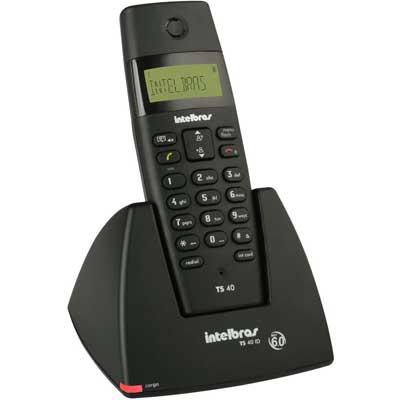 Telefone S/ Fio Preto DECT 6.0 Digital Intelbrás - TS40