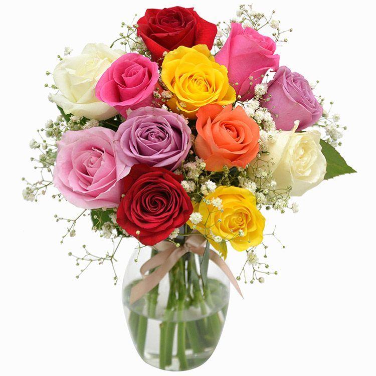 12 Rosas Nacionais Coloridas No Vidro e Ferrero