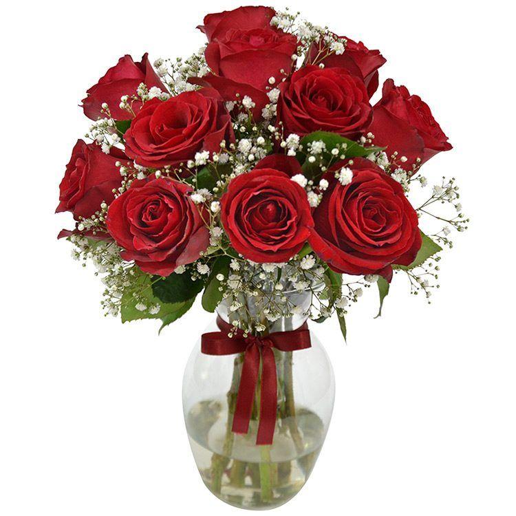 12 Rosas Nacionais Vermelhas No Vidro e Ferrero