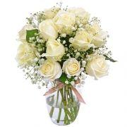 12 Rosas Nacionais Brancas No Vidro