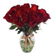 20 Rosas Nacionais Vermelhas No Vidro