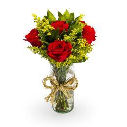 6 Rosas Vermelhas no vidro