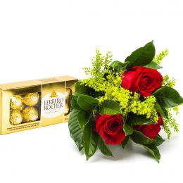 Buquê 3 Rosas e Ferrero Rocher 8 unidades