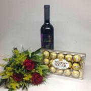 Buquê 3 Rosas, Vinho e Ferrero Rocher