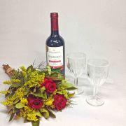 Buquê 3 Rosas, Vinho e Taças