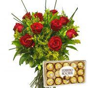 Buquê com 10 Rosas e Ferrero Rocher
