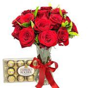 Ferrero Rocher e 15 Rosas Colombianas no Vidro