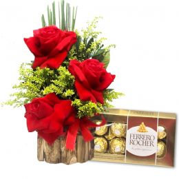 Ferrero Rocher e Arranjo 3 Rosas Colombianas