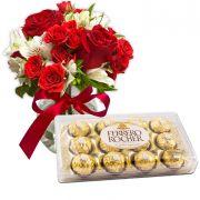 Ferrero Rocher e Mix de Rosas e Astromélias