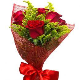 Mini Buquê 6 Rosas Vermelhas