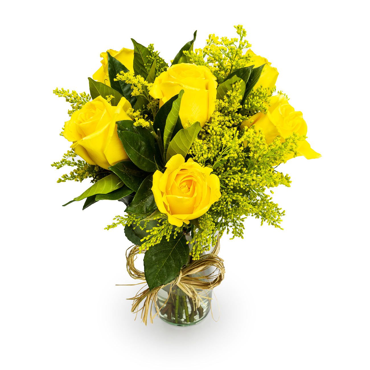 6 Rosas Amarelas no vidro