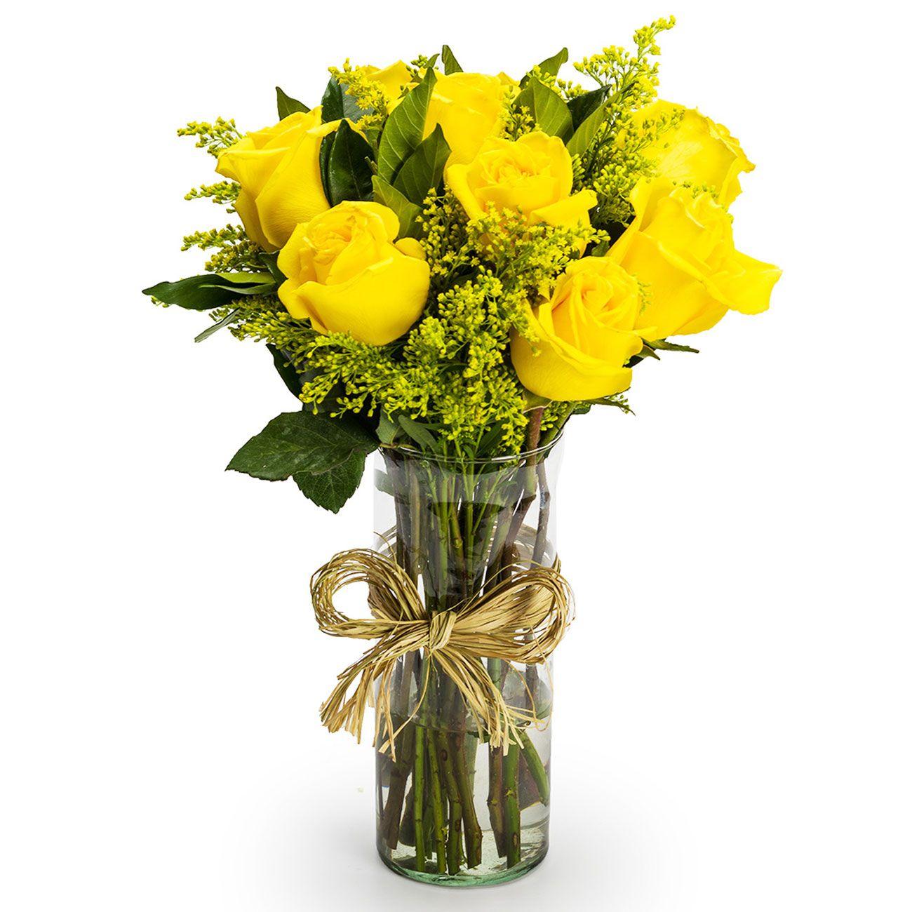 9 Rosas Amarelas no vidro