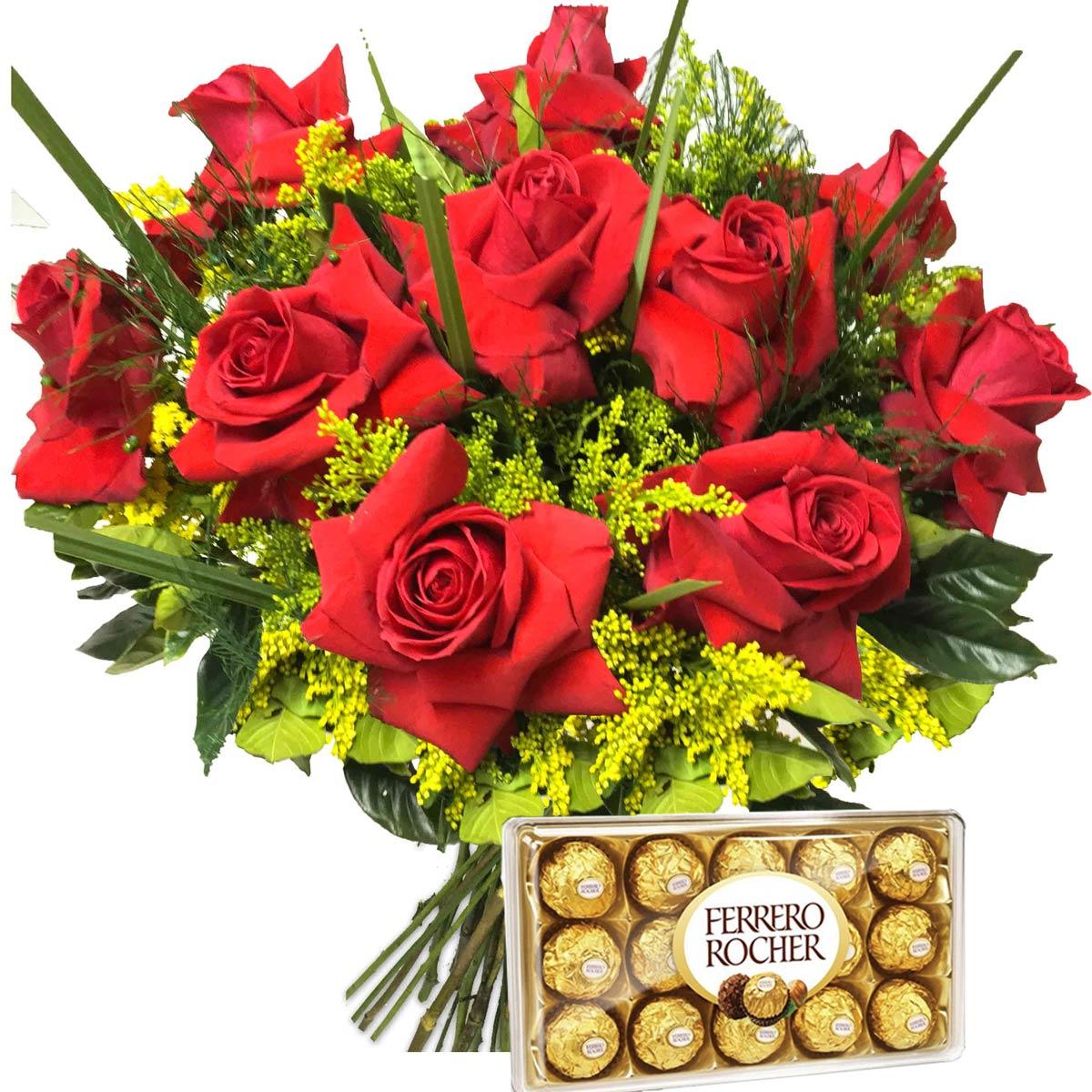 Buquê de 10 Rosas Colombianas e Ferrero
