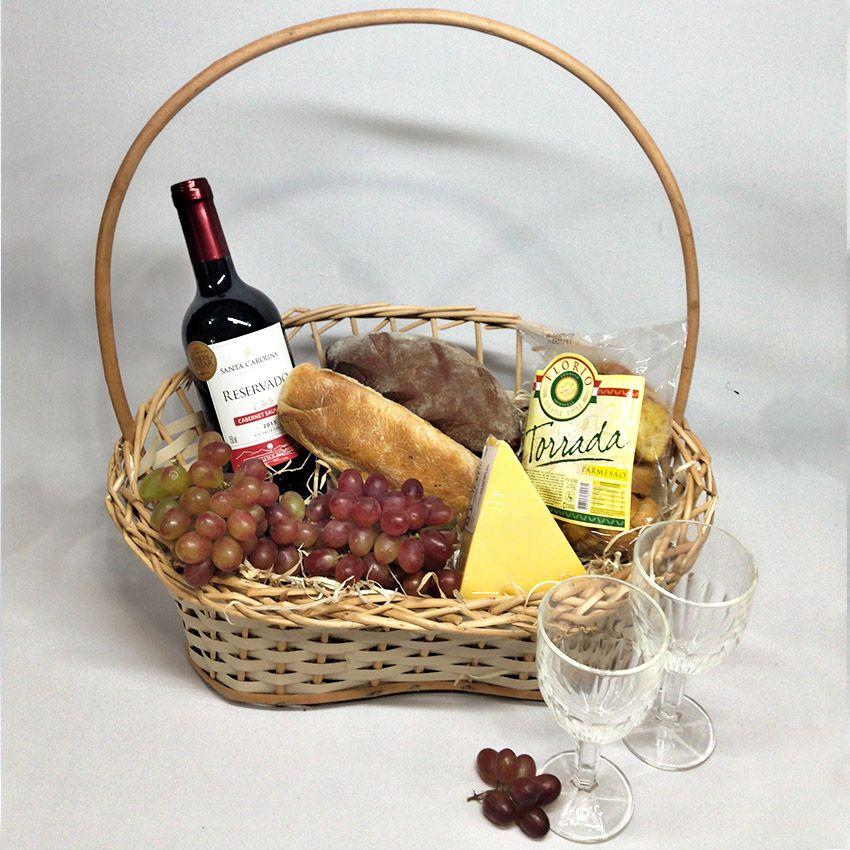 Cesta Premium Vinho e Pães