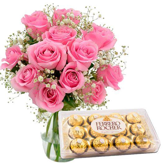 Ferrero 12 Rosas Nacionais Rosadas No Vidro