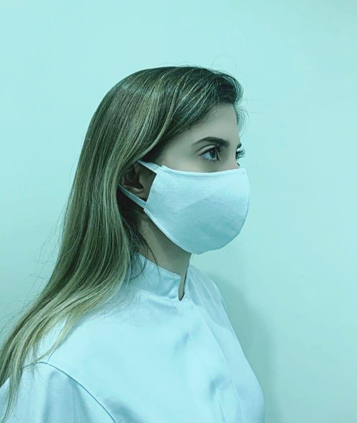 Kit 20 Máscara de Proteção fabricado em brim (composição 100% algodão).