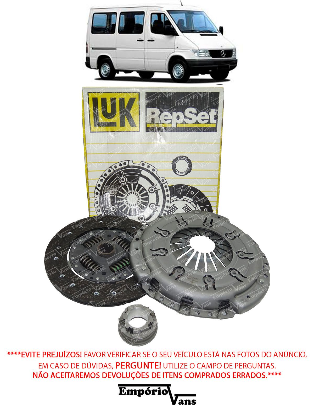 Kit Embreagem Disco Plato Rolamento Mercedes Sprinter 310