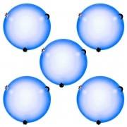 Plafon Colors 30cm 2 Lampadas E-27 Max 60w Vidro Azul 05 Unidades