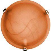 Plafon Murano Vidro 25cm 1 Lampada E-27 Max 60w Cor Cafe Com Garra Dourada
