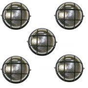 Tartaruga Circular 18cm Aluminio Pint. Epoxi E-27 1 Lamp. Max 60w C/ Grade Preta 5 unidades