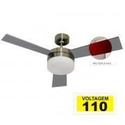 Ventilador Hl-71 Com Controle De Parede 2 Lampadas E-27 3 Pas Dupla Face (Mogno/Cinza) 110v