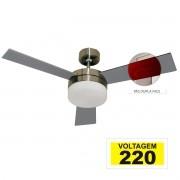 Ventilador Hl-71 Com Controle De Parede 2 Lampadas E-27 3 Pas Dupla Face (Mogno/Cinza) 220v