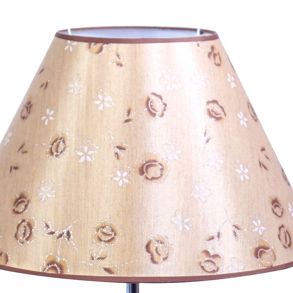 Abajur Sonho 70cm Base Cerâmica Marron Escuro E-27 40w Cúpula Tecido Floral