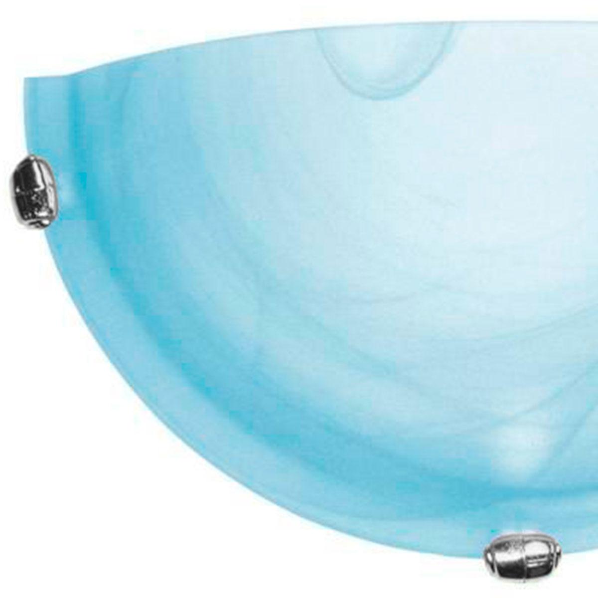 Arandela Murano Vidro 25cm 1 Lampada E-27 Max 60w Azul Garra Cromada