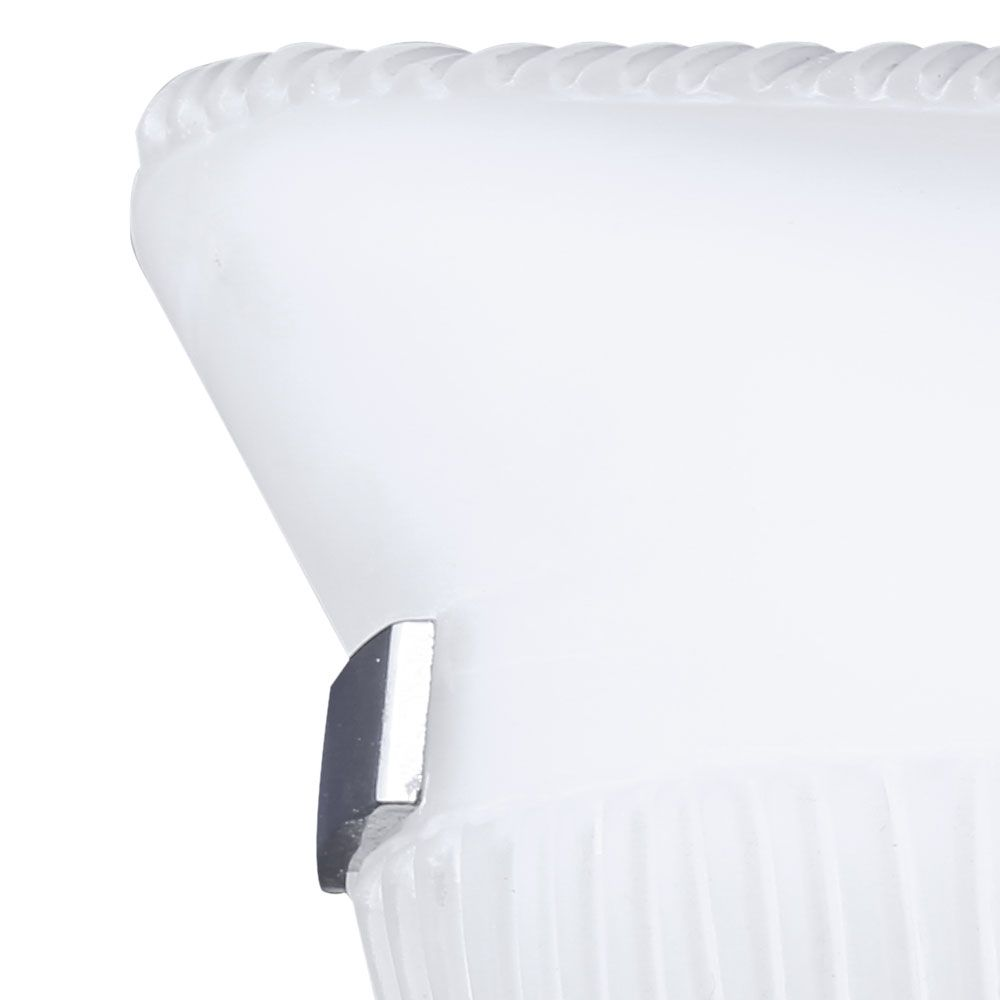 Arandela Vidro Branco 30cm 1 Lâmpada E-27 Garra Cromada