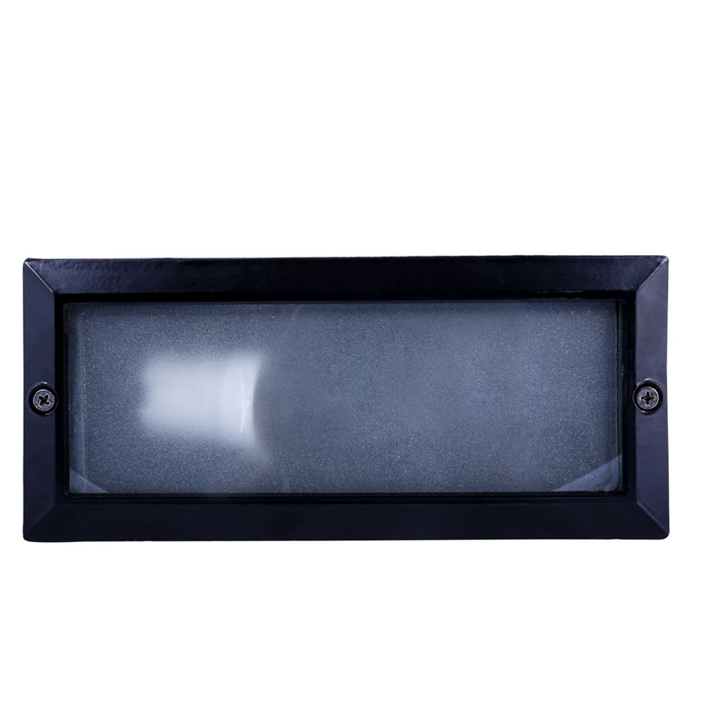 Balizador Ret. 23cm Aluminio Pint. Epoxi E-27 1 Lamp. Max 60w S/ Grade Preta