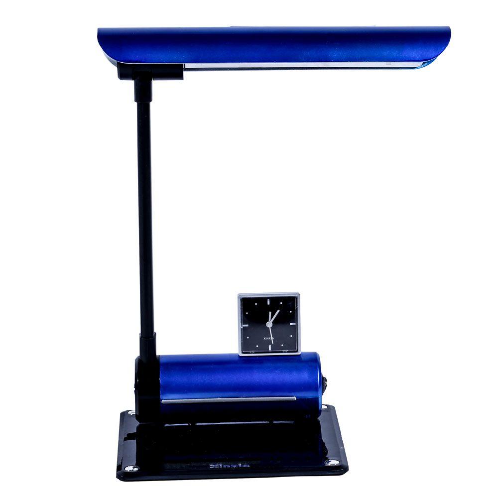 Luminária De Mesa Maximos Azul Com Relógio Ponteiro 1x13w 127v