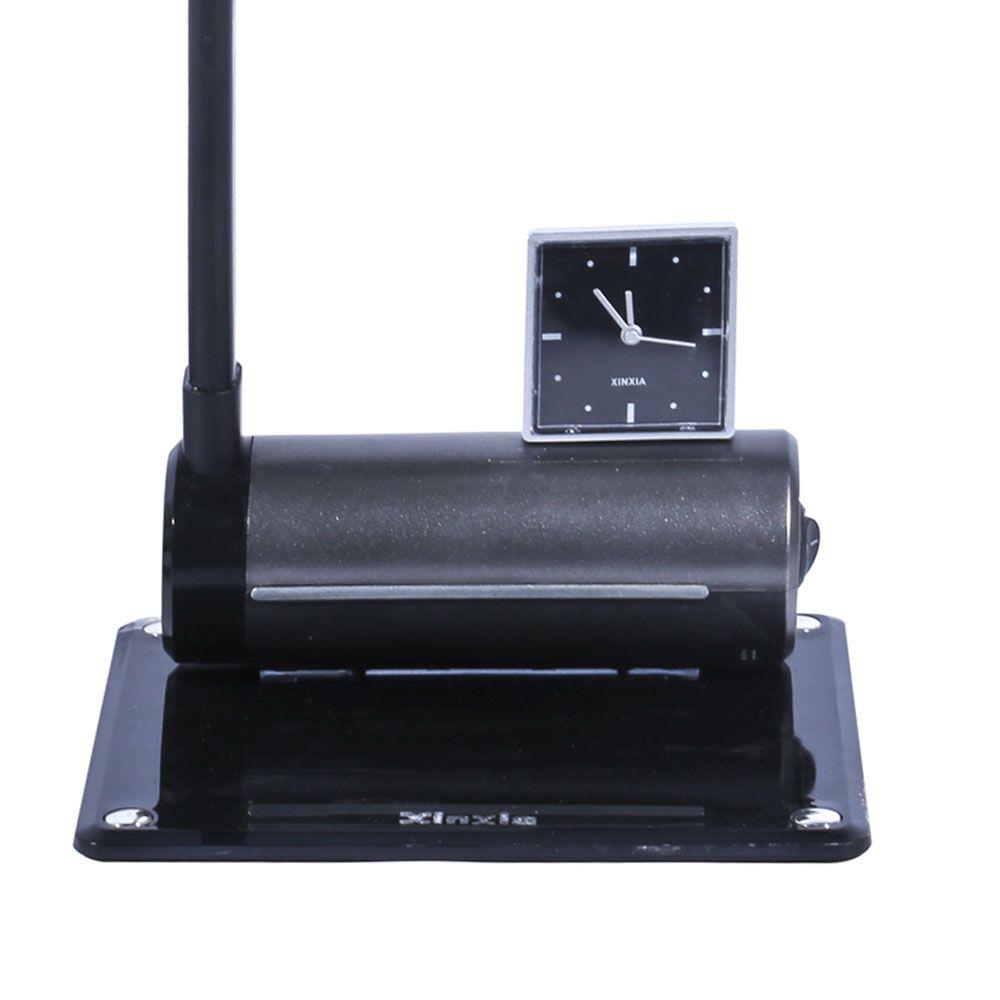 Luminária De Mesa Maximos Cinza Com Relógio Ponteiro 1x13w 127v