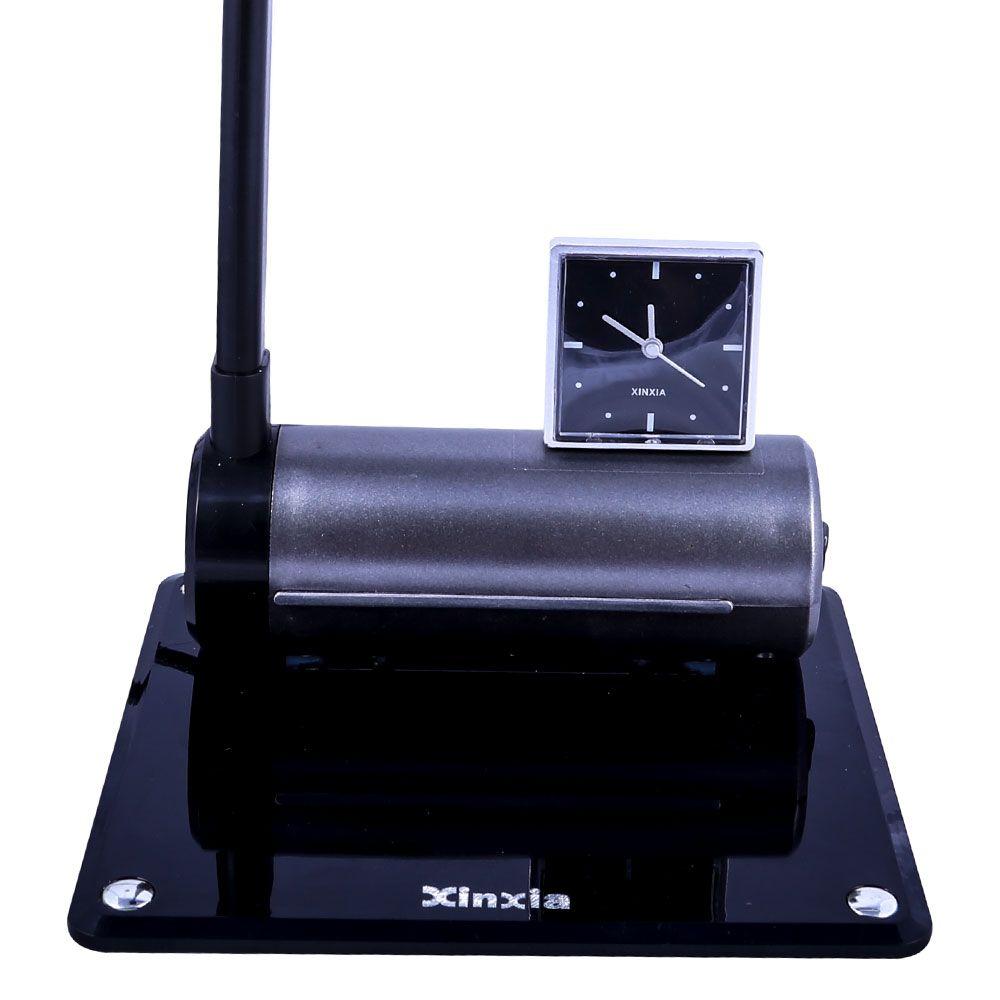 Luminária De Mesa Maximos Preto Com Relógio Ponteiro 1x13w 127v