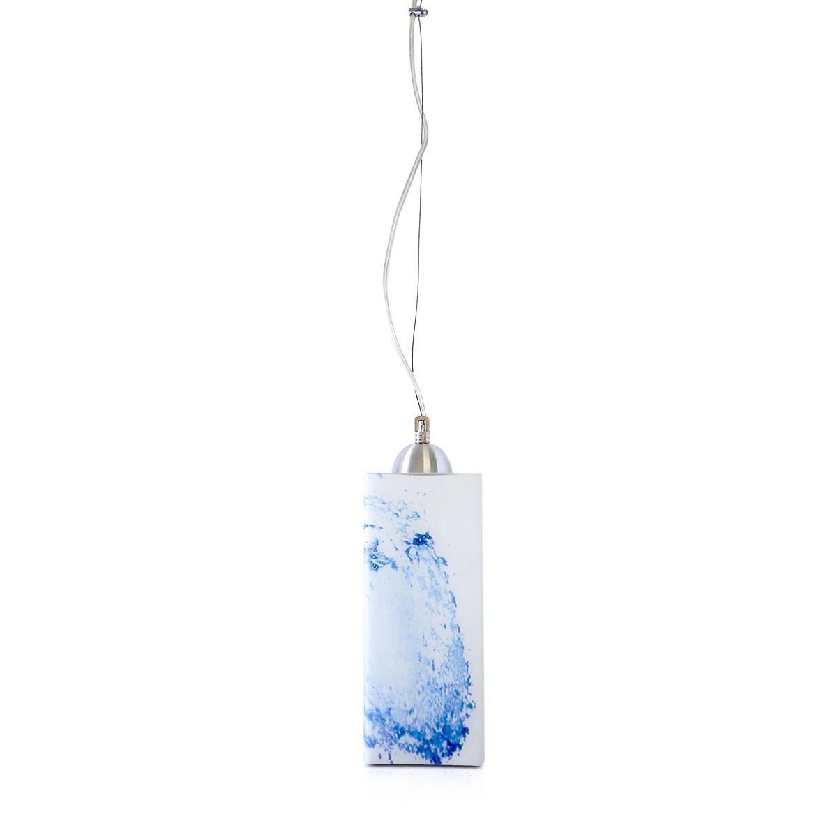 Pendente Bora Aluminio+Vidro Quadrado Fosco E-27 1 Lamp. Max 60w Azul