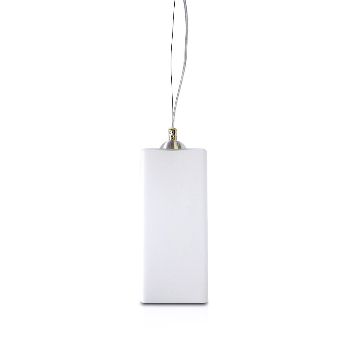Pendente Bora Aluminio+Vidro Quadrado Fosco E-27 1 Lamp. Max 60w Branco