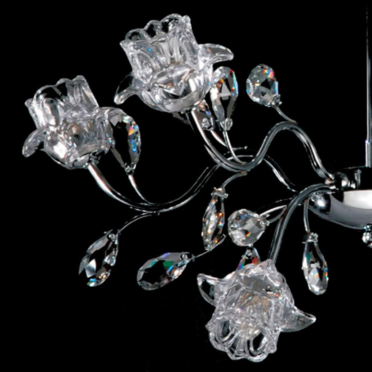 Pendente Flower Cristal 6 Lampadas G-9
