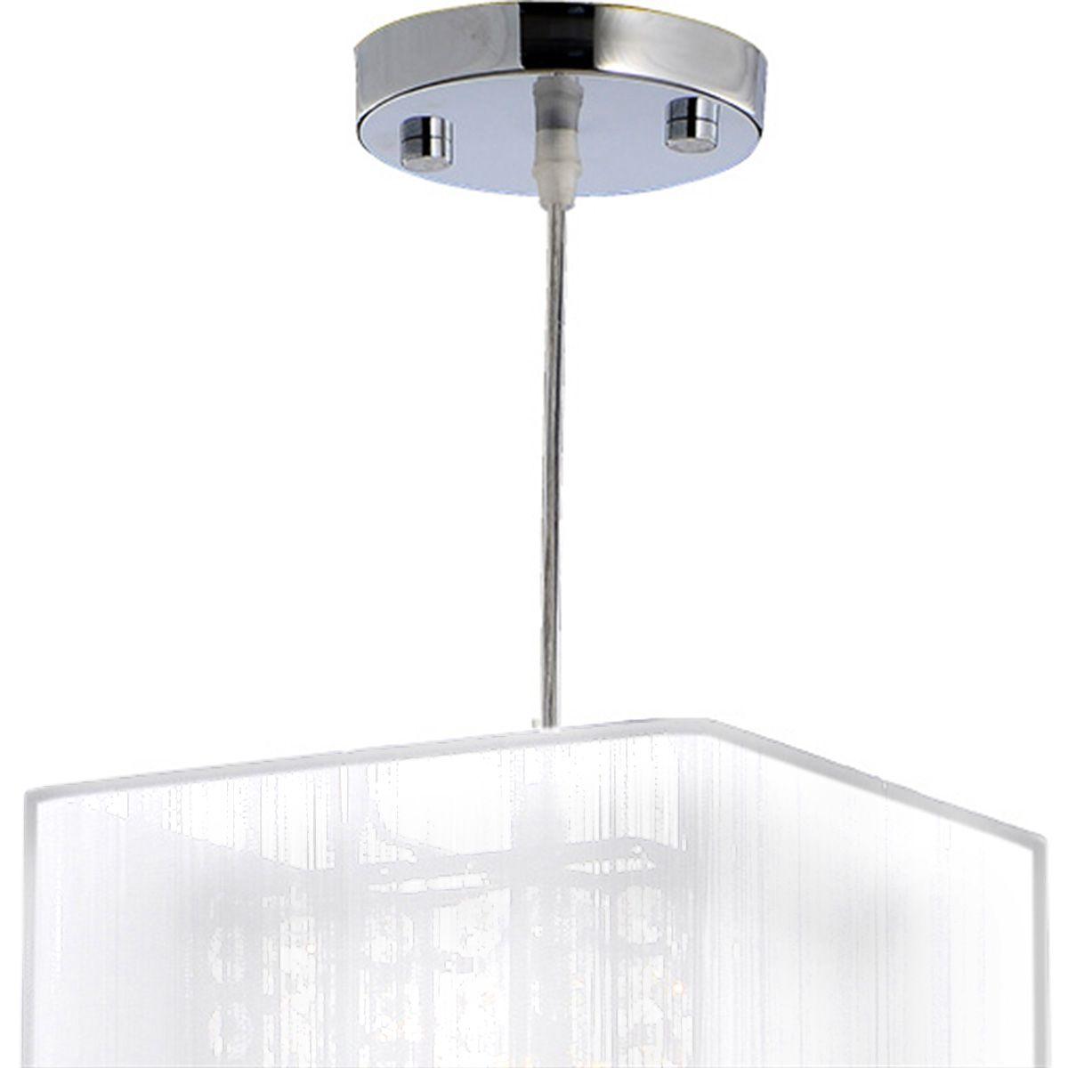 Pendente Rammer 20cm Quadrado E-27 1 Lamp. Max 60w Prata