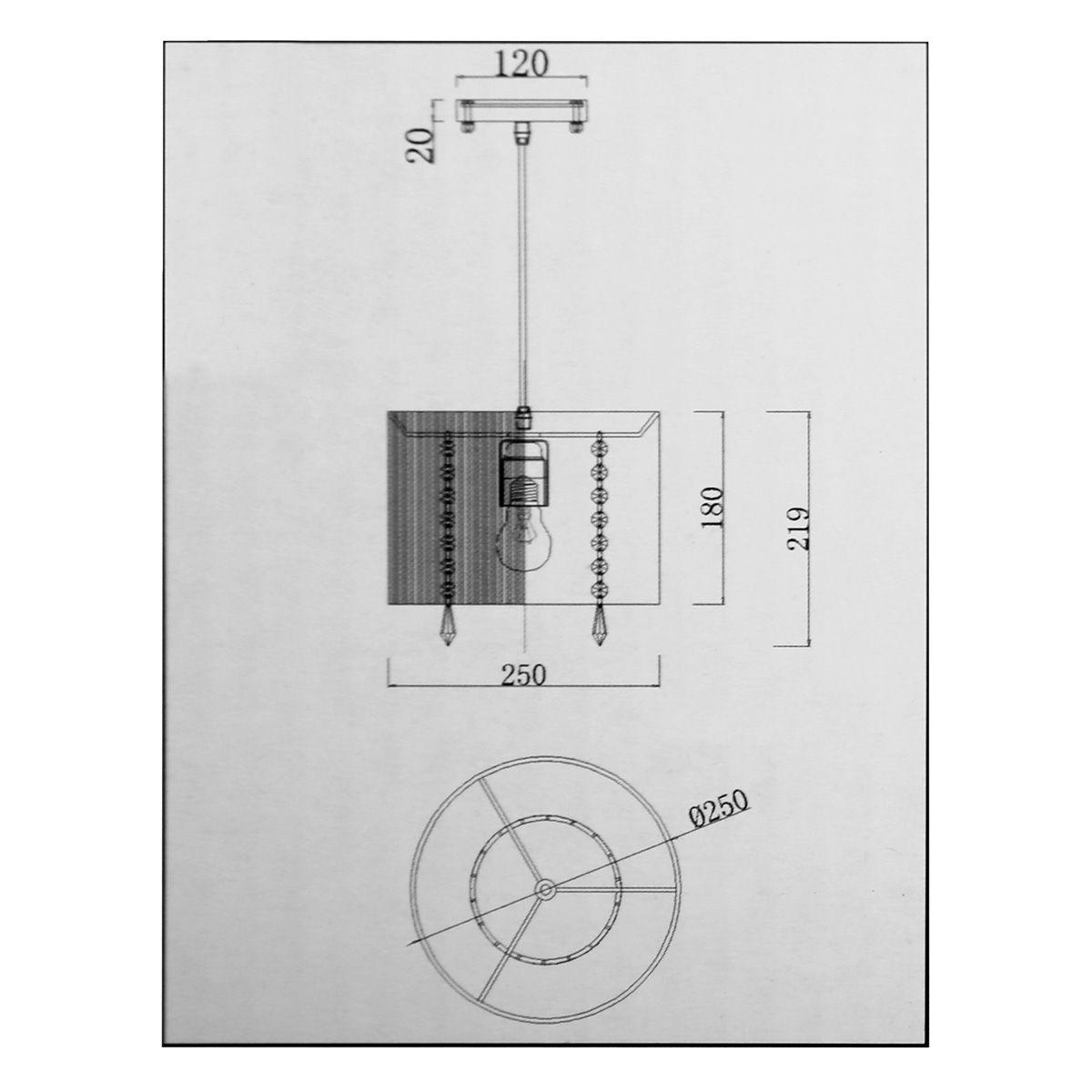 Pendente Rammer 25cm Circular E-27 1 Lamp. Max 60w Prata