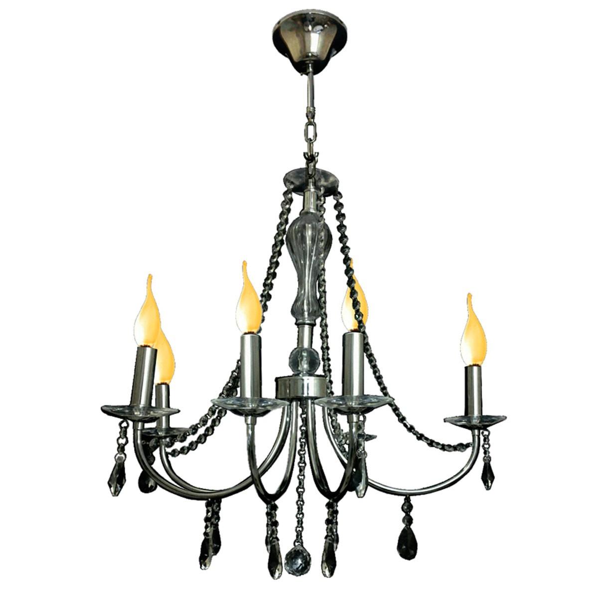 Pendente Sabara Aco Cromado 60cm E-14 5 Lamp. Max 60w