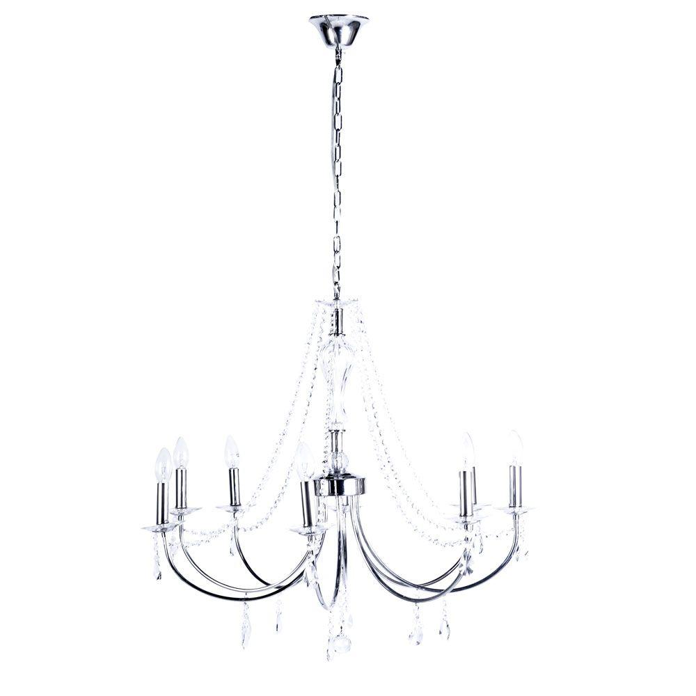 Pendente Sabara Aco Cromado 80cm E-14 8 Lamp. Max 60w