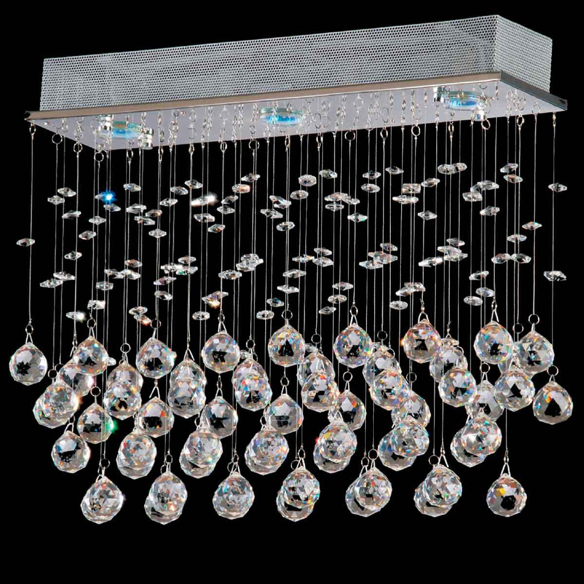 Pendente Star Cristal 42cm 3 Lamp. Gu10